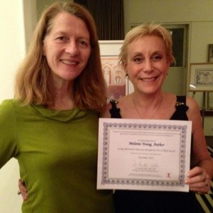 Receiving the CARA Award from Dr. Martha Eddy, Founder, Moving for Life