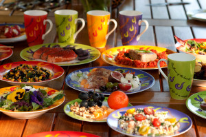 Barbara Lazaroff's Flame of Life dinnerware available on Amazon